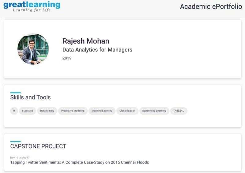 Great Learning academics eportfolio of data analytics for managers alumnus