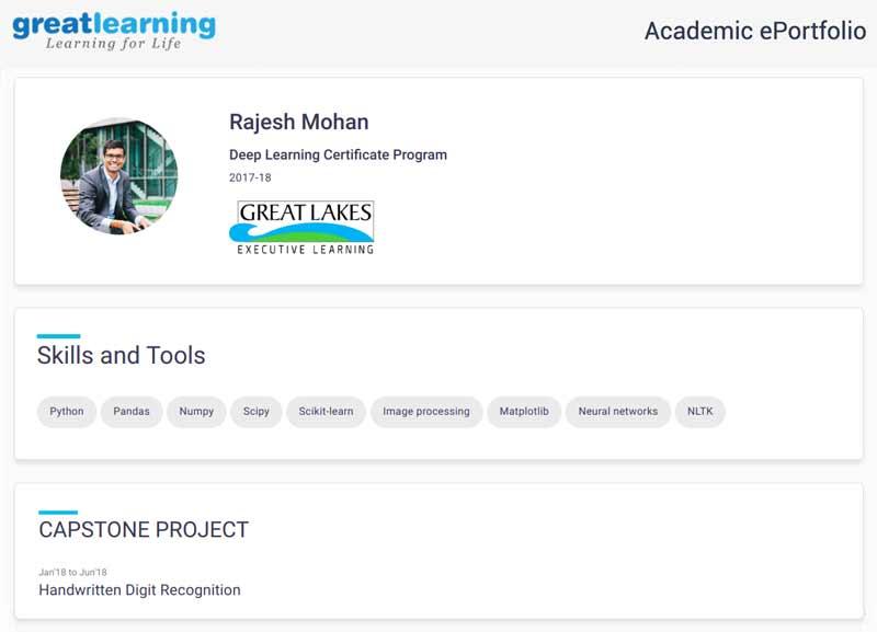 Great Learning deep learning academic eportfolio