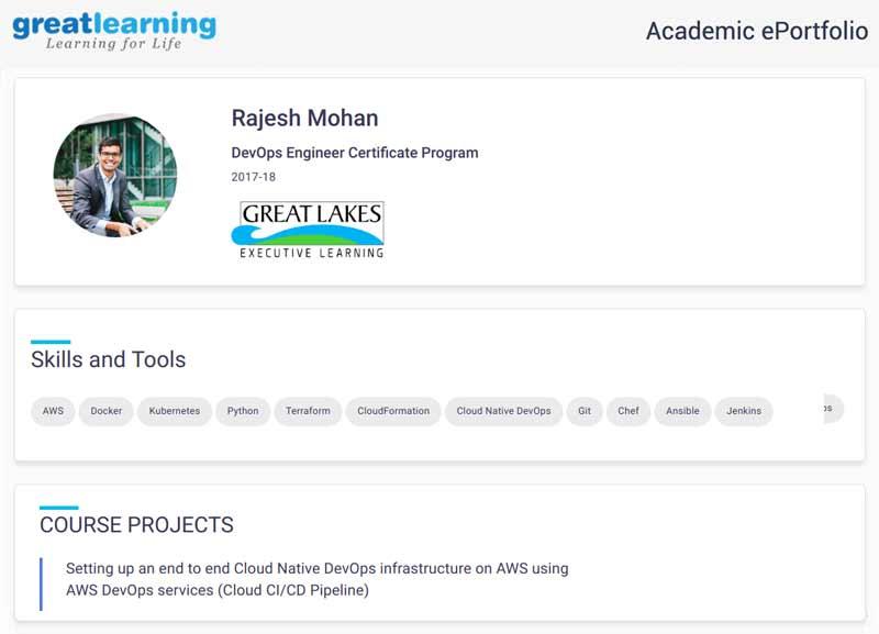 Great Learning academic ePortofolio of DevOps alumnus Rajesh Mohan