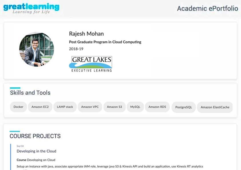Great Learnig Cloud Computing academic ePortfolio