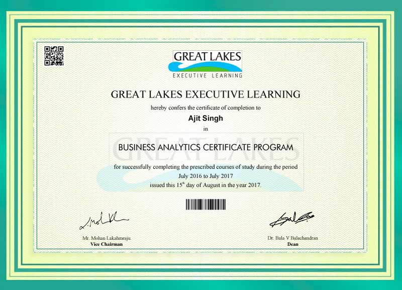 Great Learning Certification of Business Analytics Cerificate Program