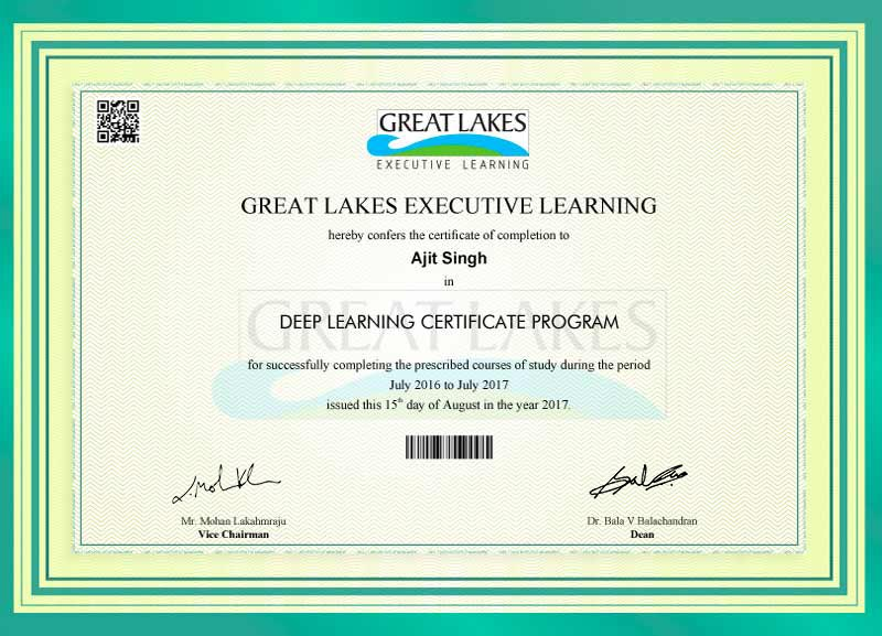Great Learning - Deep Learning Certificate